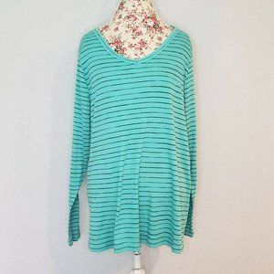 Sonoma Everyday Tee Teal Black Striped V Neck Long
